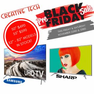 Samsung and Sharp TVs on sale